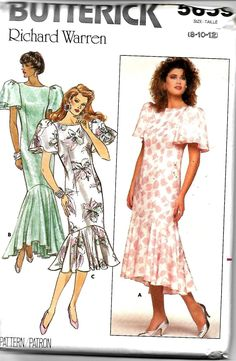 Butterick 5659 Richard Warren Semi-Fitted Straight Dress With Flounce Pattern, Sizes 8-12 and 14-18, UNCUT by DawnsDesignBoutique on Etsy