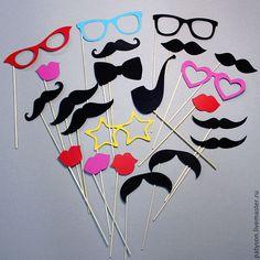 """Купить Фотобутафория """"Классика"""" - усы на палочке, фотобутафория, реквизит для фото, бутафорские очки, свадебная фотосессия"""