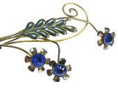 #Vintage Van Dell 1950s 12K GF over sterling retro floral pin. Sapphire blue rhinestones are bezel set in the center of 3 flowers. Leaf of pin is green enamel.  Designer boo... #wedding #vintage #jewelry #ecochic #teamlove #ezvintagefinds