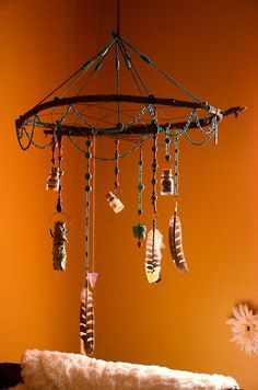 native american nursery Power Stone Dream Catcher Mobile by SLEEPWALKERSrva on Etsy, $150.00
