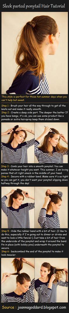Sleek Parted Ponytail Hair Tutorial