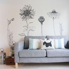 Hand Drawn Flowers Tall Large Flower Wall