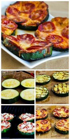 Grilled Zucchini Pizza Slices; this recipe has been hugely popular and it's a great way to use those giant zucchini that suddenly appear in the garden. [from KalynsKitchen.com] #LowCarb #GlutenFree #SouthBeach #Zucchini