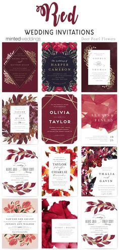 Minted red wedding invitations #weddings #weddinginvitations #weddingcards #dpf #deerpearlflowers