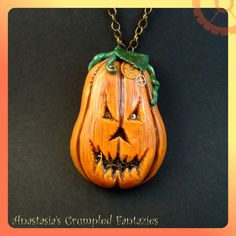 Polymer clay Halloween pendants and necklaces ideas - Carved pumpkins are scary enough