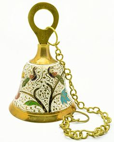 Enamel Work Peacocks Brass Bell Hanging Chain 55Ht 440 gm Vintage India Craft * Be sure to check out this awesome product.