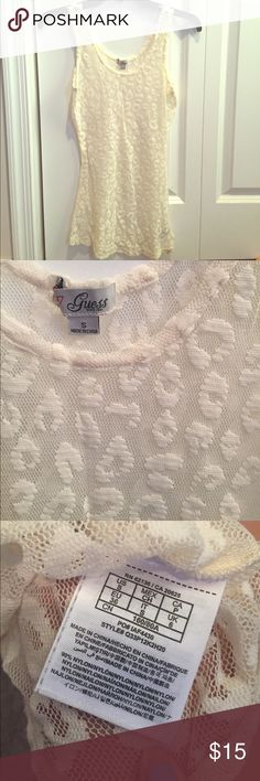Guess lace ivory tank Great condition. No visible stains or holes Guess Tops Tank Tops
