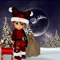 Oops -Santa forgot this one Christmas Fairy, Christmas Scenes, Christmas Clipart, Merry Little Christmas, Christmas Images, Christmas Time, Very Beautiful Flowers, Beautiful Dolls, Trolls