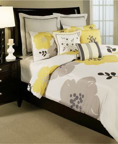 yellow, gray, black and white bedroom decor