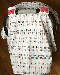 Car seat canopy bluegold and red arrows with red by Craftistikone