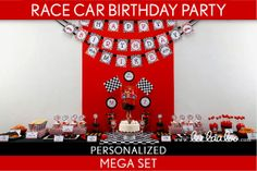 Race Car Birthday Party Package Collection Set Mega Personalized Printable // Vintage Race Car - B1Pz2 via Etsy