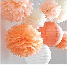 Pas cher 8 Pcs mixte Peach ivoire Orange papier de soie Pom Poms pompons et papier lanterne de mariage fête d'anniversaire bébé fille chambre décoration, Acheter    de qualité directement des fournisseurs de Chine:  Créer l'amusement et de fête Décorations de fête avec ces belles papier Pom Poms.  Papier pompons: ivoire (1*7.5 p