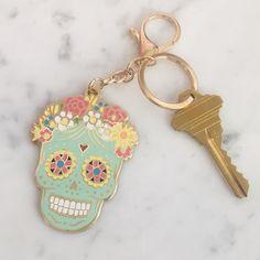 Buy Now Sugar Skull Keychain - Bag Charm - Key Ring - Colorful Enamel - Day of the Dead - Dia de los Muertos - Wildflower + Co. Crane, Sugar Skull Tattoos, Sugar Skulls, Cute Keychain, Keychains, Cute Car Accessories, Skull Tattoo Design, Tattoo Designs And Meanings, Love Gifts