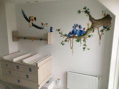 muurschildering rio, junglekamer met papegaaien en toekan