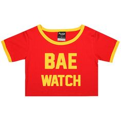 Bae Watch Ringer Tee Trim Crop Top T Shirt Womens Girl Funny Tumblr... ($17) ❤ liked on Polyvore featuring tops, t-shirts, black, sweater vests, sweaters, women's clothing, crop tee, hipster t shirts, crop t shirt and slim fit t shirts