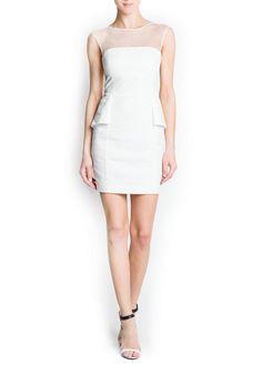 MANGO - SALE - Jacquard peplum dress