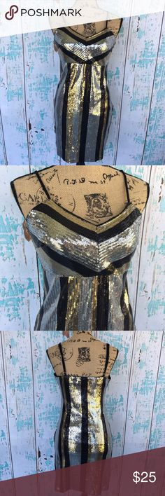 """Anna Grace sequin fitted dress size medium Anna Grace sequin striped dress size medium perfect for a cocktail like party or night out.    🍥Bundle deals available (I carry various sizes and brands in my closet): 2 items 10% off, 3 items 15% off, 4 items or more 20% off.  🍥No trades, modeling, or lowball offers please. 🍥All reasonable offers accepted only through """"offer"""" button. Please submit offer willing to pay as I prefer to not counteroffer. 🍥I appreciate you all. Happy Poshing! Anna…"""