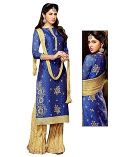 Evoking chanderi kurta in blue color is prettified with block print and fancy patch. Item code : SLEB30012 http://www.bharatplaza.com/new-arrivals/palazzo-suits.html
