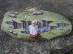 FISHERMAN, BEAUTIFUL ART! PedraBrasil: Painted Stones