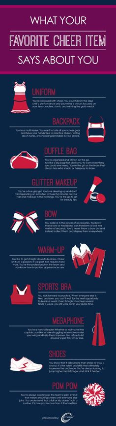 I'm the bow (maybe?) What Does Your Favorite Cheer Item Say About You? <a href='\/explore\/cheerleading' class='pintag' title='#cheerleading explore Pinterest'>#cheerleading<\/a> CHEERLEADERS COMMENT WHAT YOU ARE!