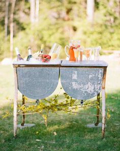 Trending Now: Drink Stations to Elevate Your Reception | Martha Stewart Weddings - What's more fun than a DIY pre-ceremony cocktail? This rustic station was stocked with all the necessities for sangria, mimosas, and bellinis.