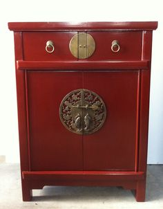 Asian Red Side Cabinet