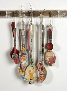 papered spoons - Oh so cute. Great way to use gift paper, magazine pictures, and your own pictures printed on plain paper. (The thinner the better for paper so it absorbes the glue better.) What a great idea for a kid craft. Theme your pictures for a great collection. - Pam