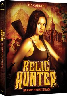 Relic Hunter.  1999.  Tia Carrere plays Sydney Fox, a female Indiana Jones.  Episode list on http://en.m.wikipedia.org/wiki/Relic_Hunter