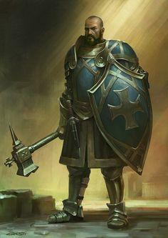 Cavaleiro  humano de armadura, martelo e escudo