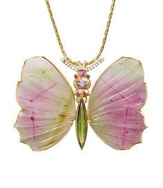 Butterfly pendant by Rudolf Heltzel - 18ct yellow gold, bi color tourmalines, tourmaline, rubies, sapphires and diamonds Photographer: Frauke-Fischer