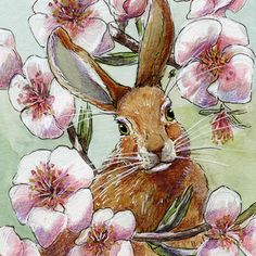 Funny Rabbits - Almond Spring Painting by Svetlana Ledneva-Schukina Rabbit Drawing, Rabbit Art, Funny Rabbit, Funny Bunnies, Wild Strawberries, Bunny Art, Vintage Easter, Flower Art, Watercolor Art