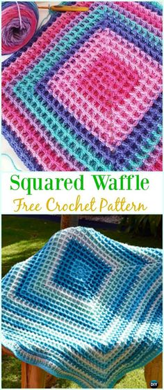 Perfect for a rug! - Crochet Squared Waffle Free Pattern- Crochet Waffle Stitch Free Patterns & Variations