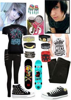 """Emo/Scene Couples Outfit"" by volleychickss ❤ liked on Polyvore"