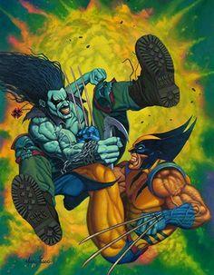 Lobo vs Wolverine Art by Marc Sasso