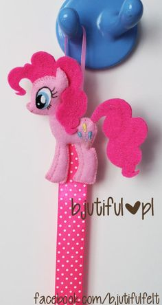 pinkie pie my little pony organizer hair clips, hair bands - felt