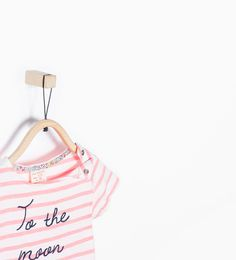 Image 3 of Organic cotton stripes and text T-shirt from Zara