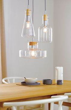 Lab 1 Light Pendant with 170mm Flat Beaker Shaped Glass Shade