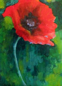 red poppy. acrylic on wood. 2014