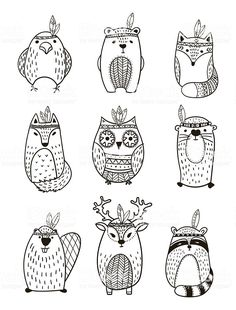 Set of vector hand drawn indian totem animal. Set of vector hand drawn indian totem animal.,Egg art Tribal Animal collection – Illustration royalty-free tribal animal collection illustration stock vector art & more images of american culture Penguin Illustration, Cactus Illustration, Illustration Vector, Illustrations, Vector Hand, Free Vector Art, Vector Vector, Vector Stock, Vector Graphics