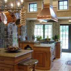 European Style Kitchen With Stone Wall