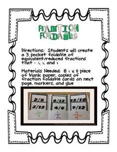 Here's a foldable on simplifying fractions.