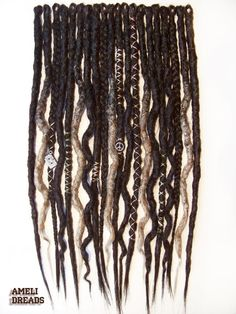 Audrey set, single-ended synthetic dreads, wrapped natural style dreadlocks, accent ombre dreads - Faux Dreads, Dreads Short Hair, Wool Dreads, Ombre Faux Locs, Black Dreads, Extension Dreadlocks, Dreadlock Extensions, Dreads Styles, Partial Dreads