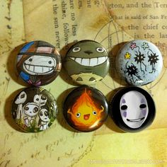 Studio Ghibli Button Pack by SquidSaladShop on Etsy, $5.00