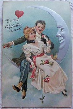 Antique Valentine Penny Postcard Couple in the Moon, PFB