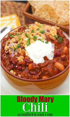 Rich, meaty chili made with Bloody Mary mix and two kids of beans is loaded with flavor that's sure to make the chili lovers in your life smile! Chili Recipes, Slow Cooker Recipes, Soup Recipes, Cooking Recipes, Fast Recipes, Bean Recipes, Crockpot Meals, Recipies, Dinner Recipes