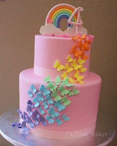 Rainbow Butterfly Birthday Cake - Cake by CeCe