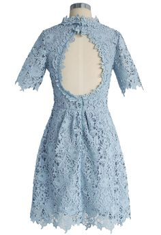 Divine Lace Open-back Dress in Baby Blue - Dress - Retro, Indie and Unique Fashion
