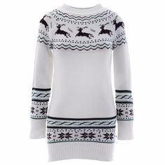 Prepare for early winter outfit with this chic knitted outerwear. Features round neckline, long sleeve, snowflakes and animal print. Carfted from polyester material. Style yourself with any bottom for