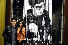 "Shanghai-based artist Hong Yi creates a portrait of YouTube ""singindork"" Gerald Ko using tea bags and tea labels"