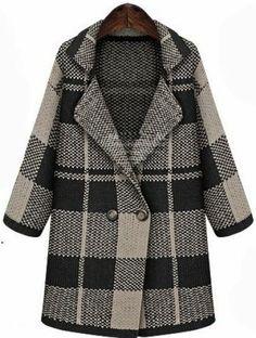 Black Lapel Long Sleeve Plaid Coat pictures